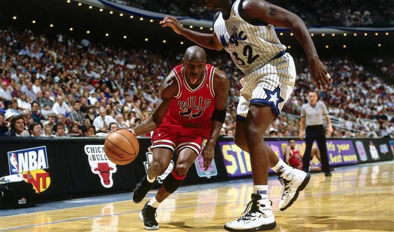 спорт, jordan, момент, michael, кадр, картинка, баскетбол, шакил, чикаго, буллз, картинку, нил, мэджик, орландо, нба, баскетболисты, болельщики, мяч,