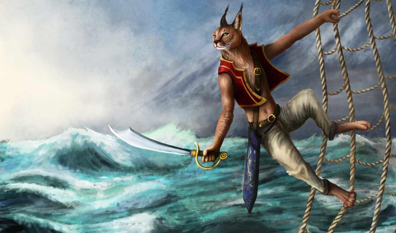 рысь, море, fantasy, пиратский, меч, сетка,