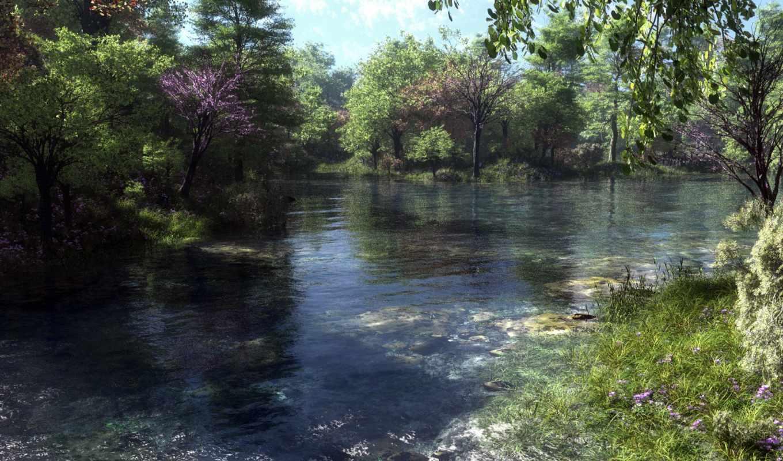 рыбалка, art, spot, klontak, река, деревя, нравится, лодка,
