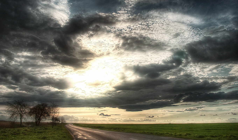небо, картинка, дорога, land, поле, sun, oblaka,