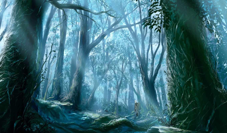 anime, лес, картинка, природа, full, dark, листья,