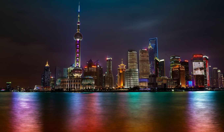 shanghai, ночь, skyline,