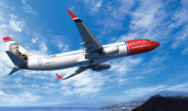 boeing, самолёт, летит, авиация, небо, авиалайнер, norwegian, air, воздухе, закат, картинка,