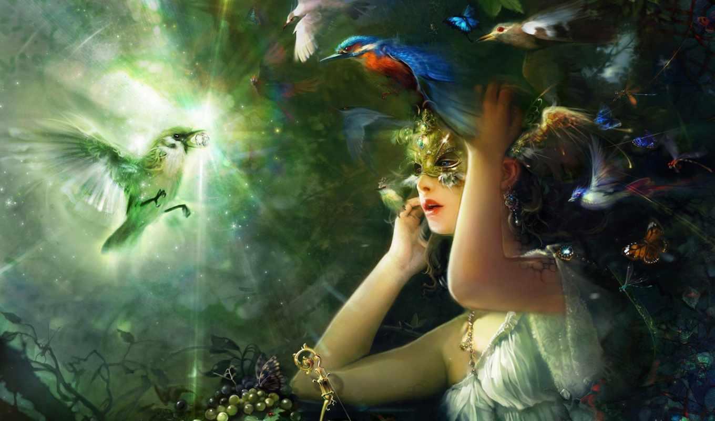 птицы, девушка, freedom, маске, девушек, fantasy, красавица, сказочная, похожие, весь,