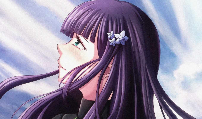 , фиалка, фиолетовый, прическа, hime cut, длинные волосы, черные волосы, волосы