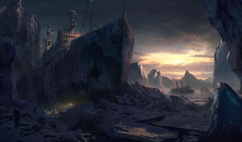 арт, снег, ледник, gvozdenkoyura, холод, корабли, люди, льдины, картинку, юрий, гвозденко, кнопкой, правой,