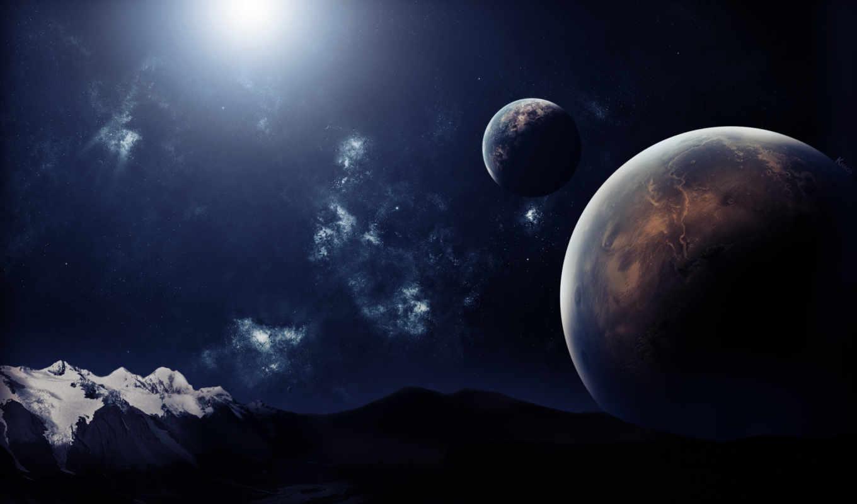 планеты, небо, горы, картинка, картинку,