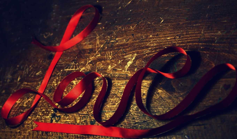 love, лента, красный, древесина, царапины