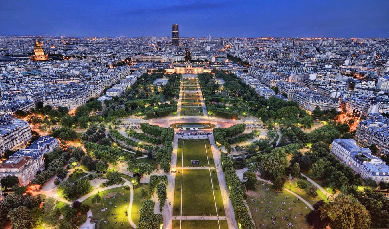 франция, париж, огни, флот, панорама, города, сумерки,