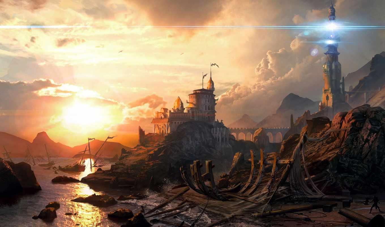 свет, sci, lighthouse, море, закат, game, water,