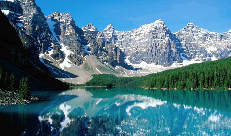 озеро, moraine, banff, морейн, национальном, находится, парке, долине, десяти, ледниковое,
