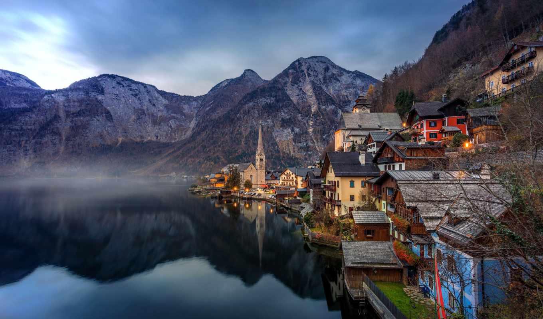 Обои австрия, дома, альпы, гальштат, hallstatt, austria. Города foto 11
