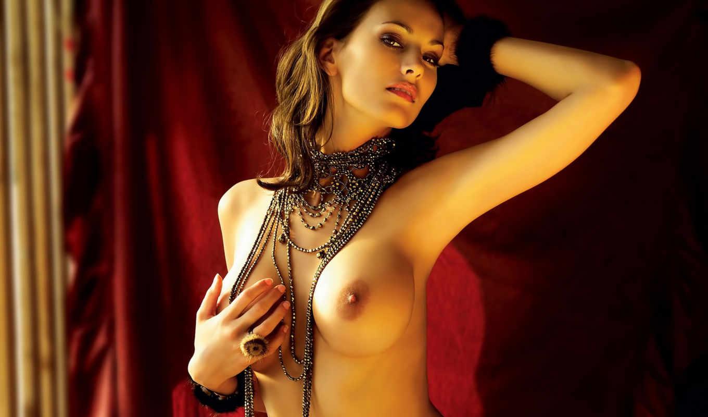 erotica, банка, бусами, обнаженной, груди, бусах,