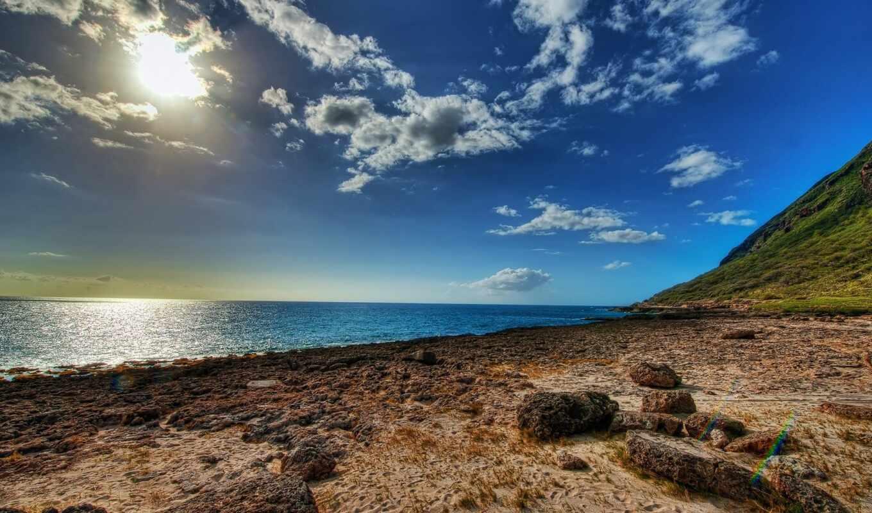 море, bay, обнажение, побережье, ocean, пляж, природа, небо, песок, landscape, облако