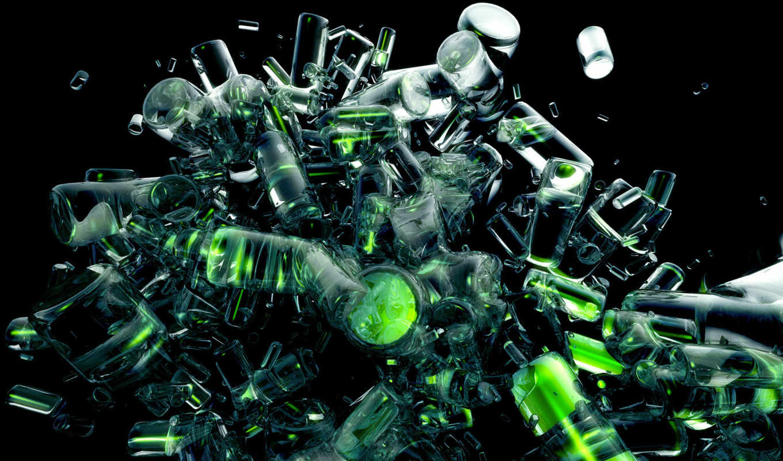 green, abstract, бутылки,