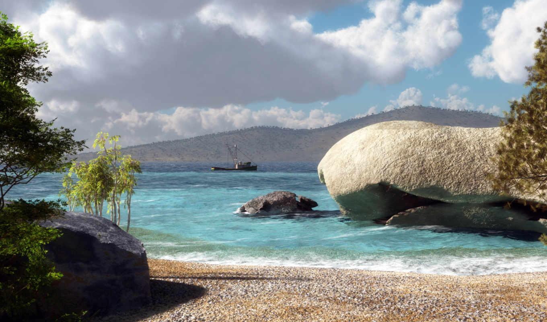 море, холмы, песок, корабль, камень, деревья, klontak, арт,