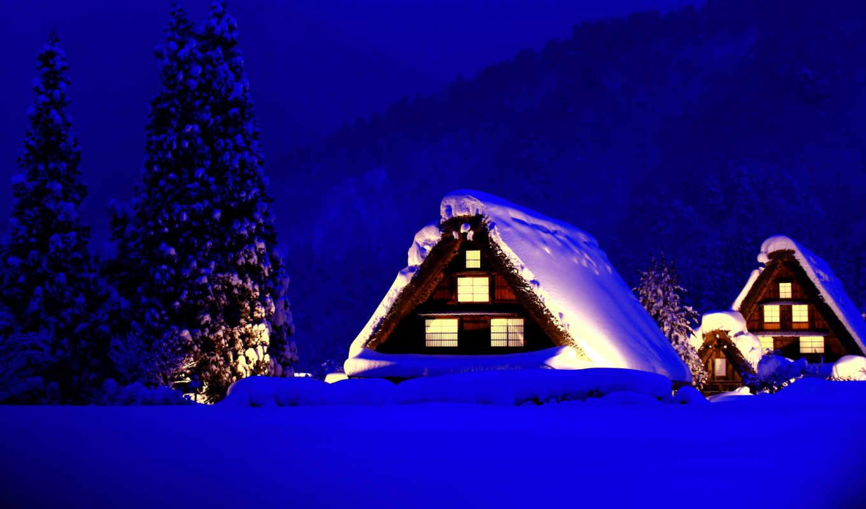 горы, деревья, дома, снег, красивые, winter, заставки, daily,