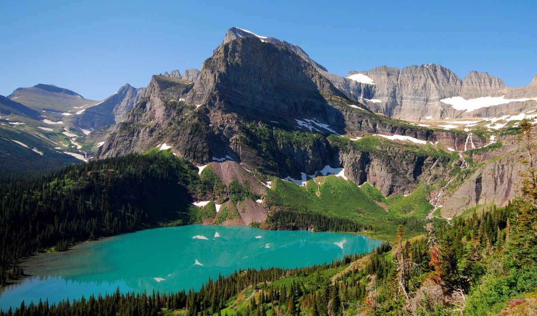 горы, ozero, пейзаж, снег, скалы, камни,