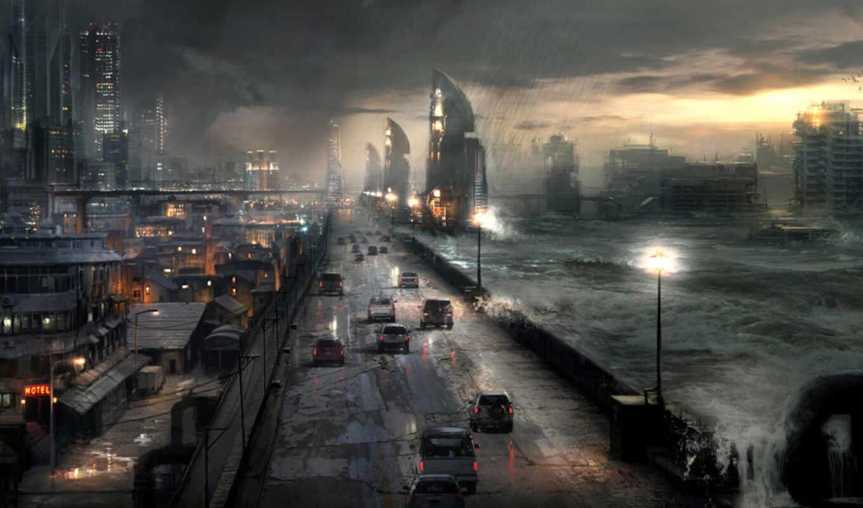 апокалипсис, город, буря, ночь, дорога, машины,