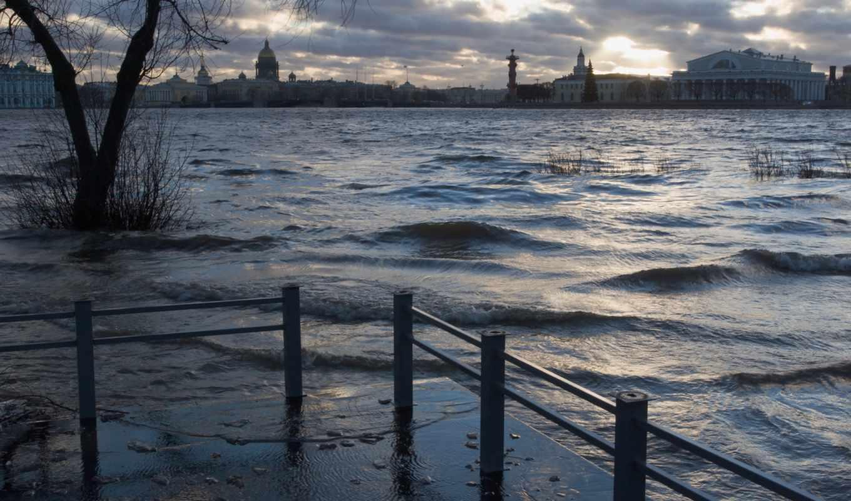 природа, море, город, паводок