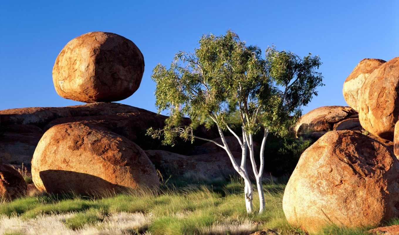 скалы, stones, камни, nature, дерево, трава, небо, круглые, wallpaper, desktop, природа, boulder, northern, balancing,