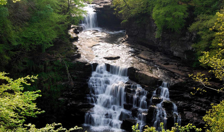 clyde, falls, image, горная, natu, водопад, смотрите, лес, скалы, речка,