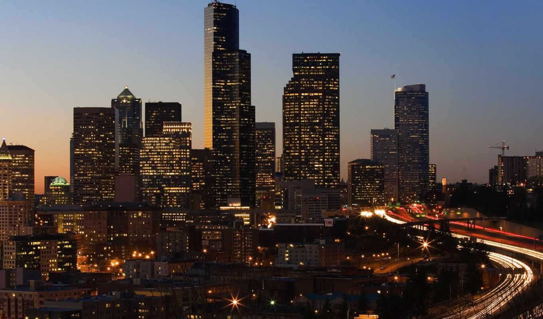 огни, здания, фонари, city, картинка, небоскребы, сиэтл, share, twilight, this, hour, buildings, мира,