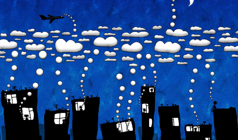 юмор, город, облака, картинка, theme, illustration,