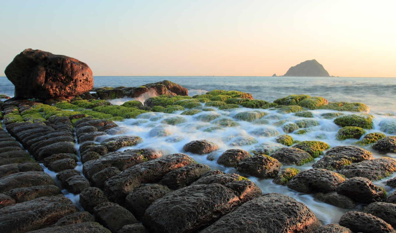 море, пляж, blue, rocks, мох, камень, природа,