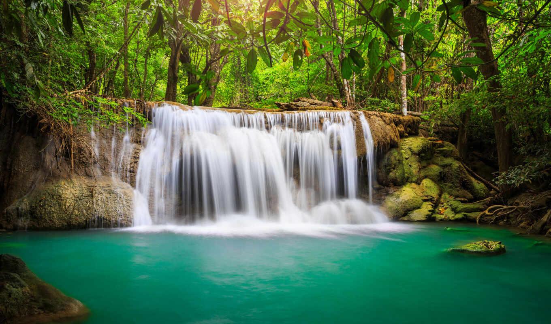 hd, обои, таиланд, лес, река, природа, водопад,