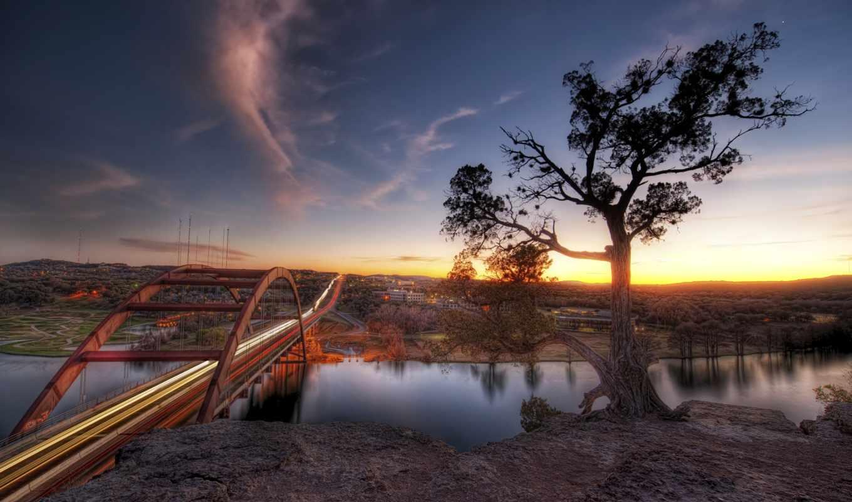 дерево, мост, одинокое, обрыве, austin, закат, река, sunset, вернуться, изображения, картинку, поделиться, разрешении,