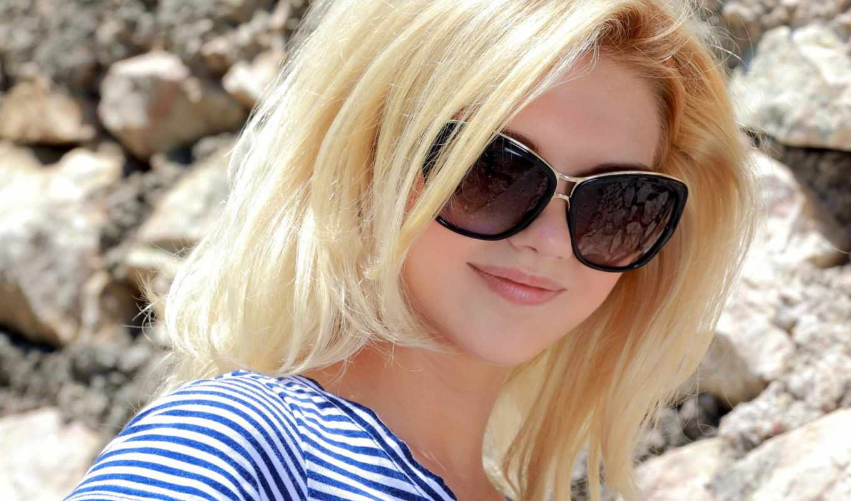 очки, girl, blonde, lips, smile, shirt,