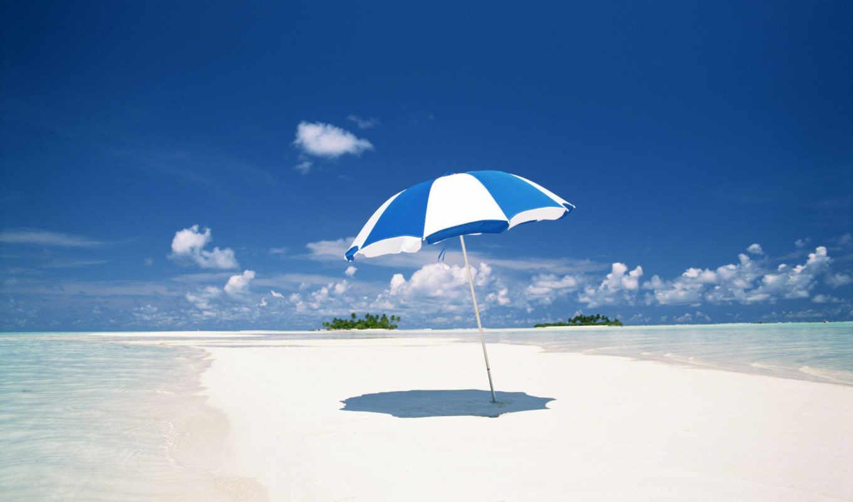 пляж, зонтик,