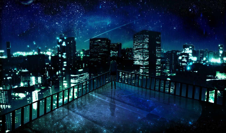 город, девушка, альбома, art, смотрит, ночь, anime,