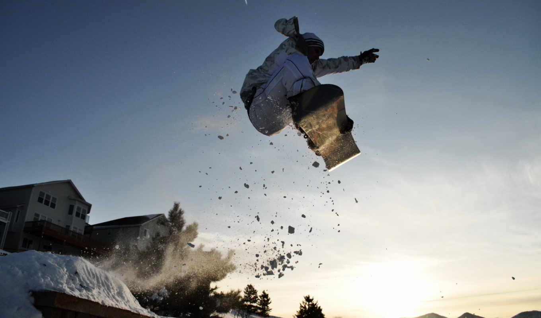обои, сноуборд, спорт, снег, прыжок, горы, солнце,