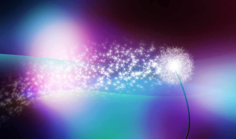 одуванчик, блеск, abstract, парашютики, desktop, colorful, vision, lights,