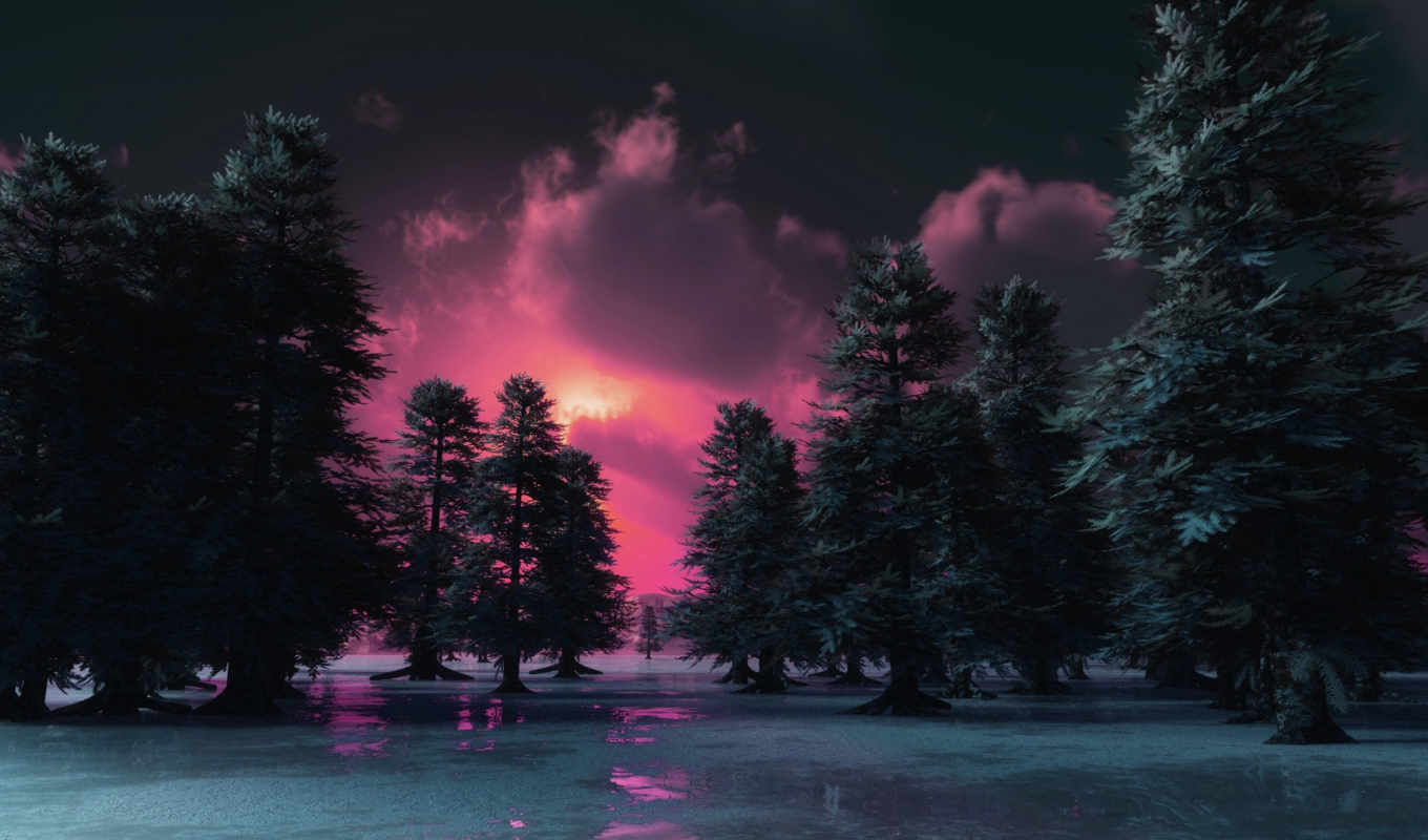 sunset, winter, andarson, pink, качестве, nature,