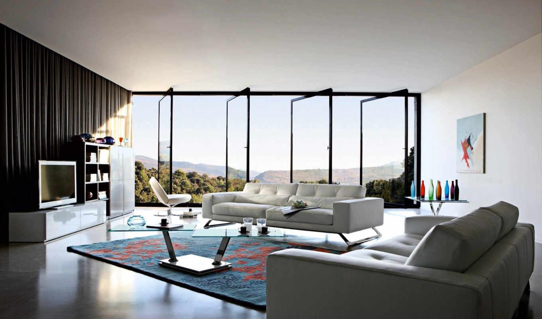 living, интерьер, цвете, белом, design, гостиные, окна,