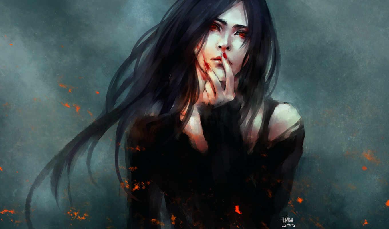 кровь, девушка, Nanfe, art, anime, огонь, жест,
