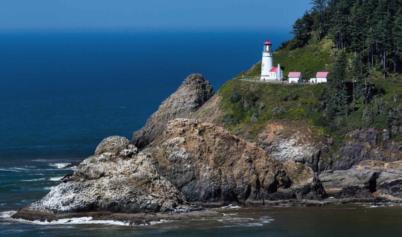lighthouse, голова, heceta, ocean, побережье, oregon, тихий, pacific,