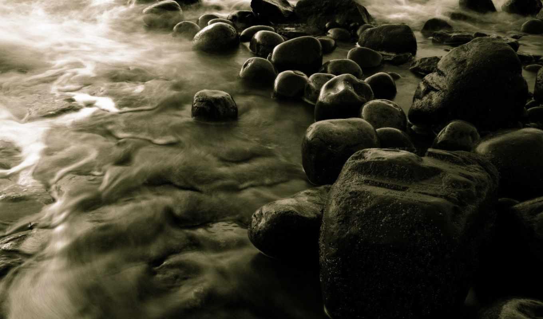камни, water, black, речные, бамбук, surf, берегу, картинка,