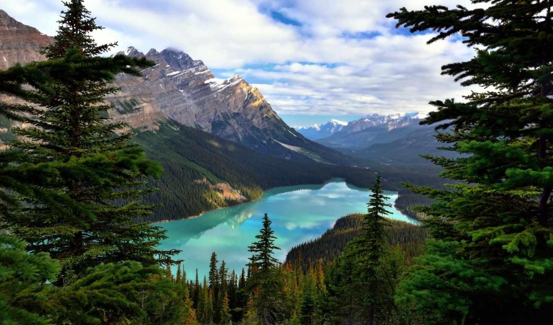 горы, лес, oblaka, озеро, уже, загружено, коллекция, лучшая, красивые,
