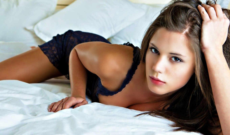 caprice, little, модель, women, brown, eyes, models, beds, brunettes, lace,