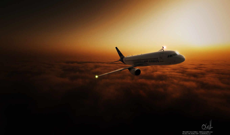 пассажирский, облака, небо, flugzeuge, полет, самолёт,
