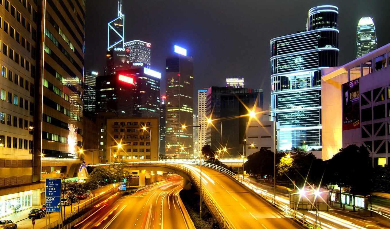 город, ночной, kong, hong, огни, дорога, arhitektura, трасса, имеет, картинка, горизонтали, вертикали, electric,
