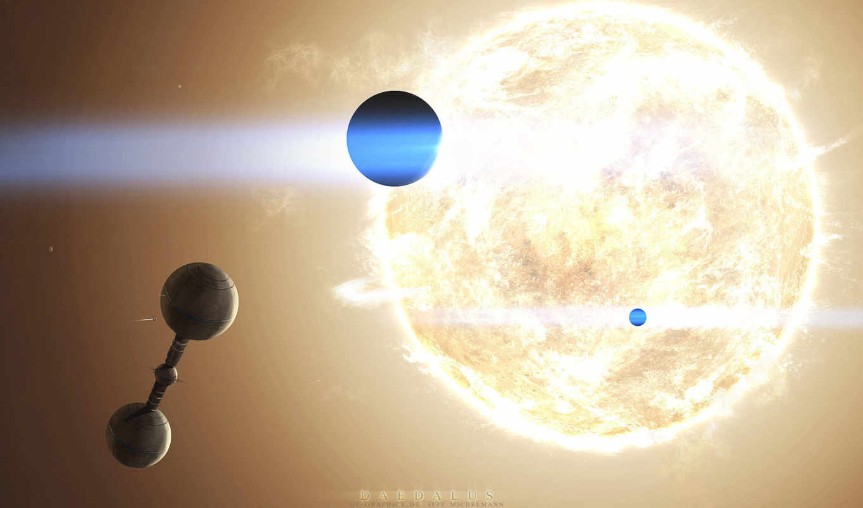 станция, космическая, солнце, звезда, планеты, space, картинка,