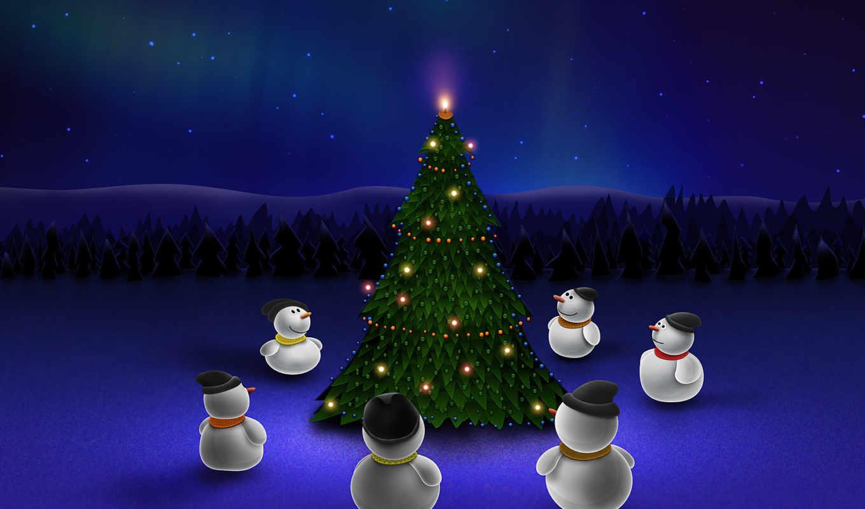 christmas, снеговики, елка, год, новый, waiting, miracle, синий, ночь, собрание, снеговиков, хоровод, елки, merry, desktop,