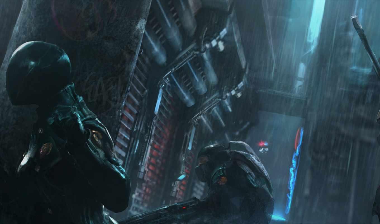 police, спецназ, группа, оружие, захвата, ночь, город, будущее, дождь, operation,
