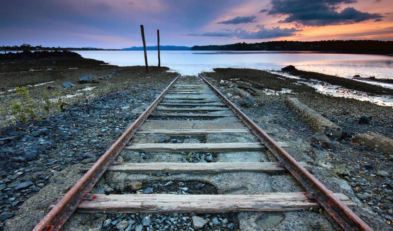 дорога, железная, zakat, поезд, рельсы, art,