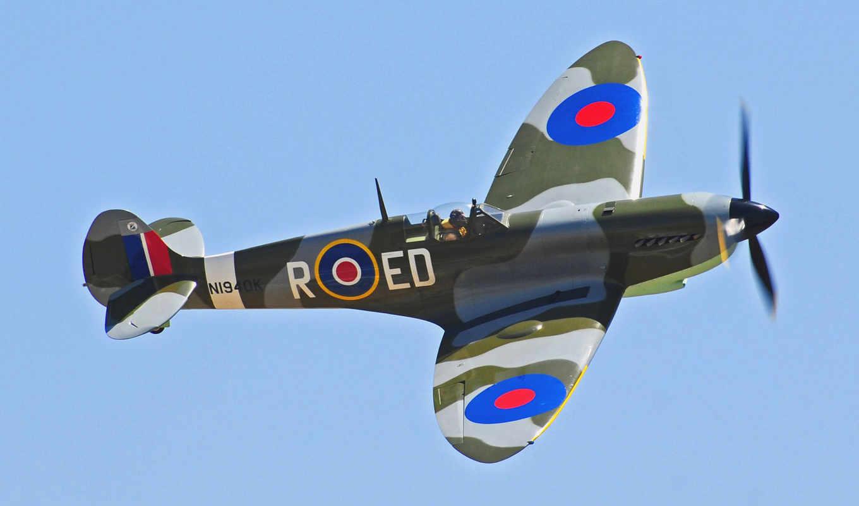 полет, небо, самолёт, пропеллер, supermarine, spitfire, марта, картинка,